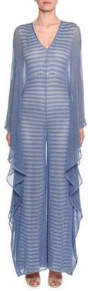 Missoni Metallic Striped Mesh Jumpsuit w/ Cascade Ruffle