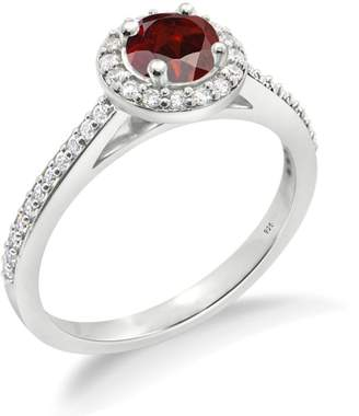 Smjewels 1.2Ct Round Cut Red Garnet 14K Gold Fn Wedding/Engagement Ring For Girls