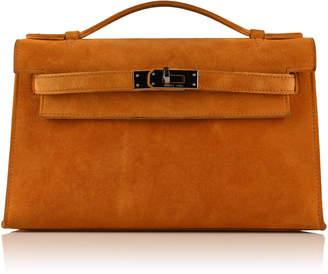 Hermes Rare & Unique Saffron Veau Doblis Suede Kelly Pochette