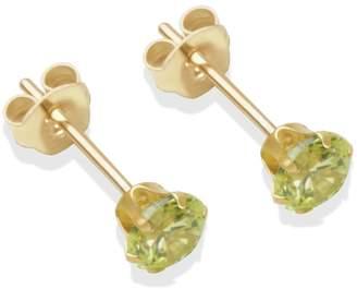 9ct Gold Light Peridot Coloured CZ Stud Earrings