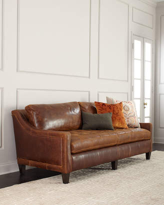Massoud Markel Biscuit Tufted Leather Sofa