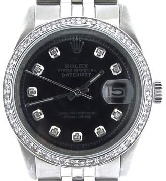 Rolex Datejust Stainless Steel With Black 1.00Ct Diamond Dial Jubilee 36mm 1603 Watch $23,350 thestylecure.com