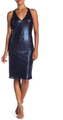 Jay Godfrey V-Neck Cutout Sequin Midi Dress