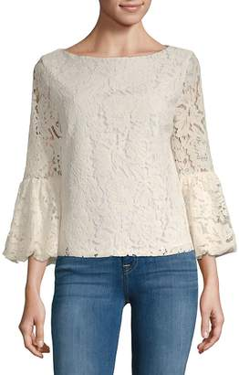 Laundry by Shelli Segal Women's Lace Bell-Sleeve Top