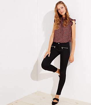 LOFT Modern Zip Skinny Jeans in Black