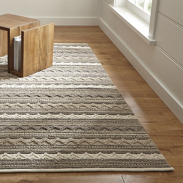 Crate & Barrel Mallory Neutral Striped Wool Rug
