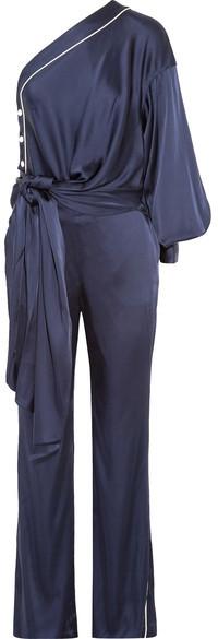 Jonathan Simkhai - One-shoulder Tie-front Satin Jumpsuit - Midnight blue