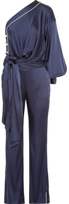 One-shoulder Tie-front Satin Jumpsuit - Midnight blue