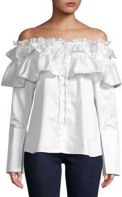Opening Ceremony Sateen Off-The-Shoulder Ruffle Top