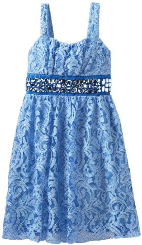 Ruby Rox Girls 7-16 Allover Lace Dress with Stones on Waistband