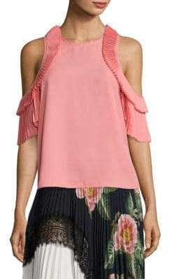 Everly Pleated Cold-Shoulder Top
