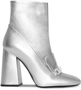 Burberry Studded Bar Detail Leather Ankle Boots