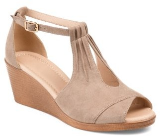 Brinley Co. Womens Comfort-sole Ankle-strap Center-cut Wedges