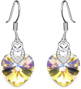 "Swarovski T400 Jewelers ""Trio Heart"" Fishhook Earrings with Crystals Love Gift(Crystal)"
