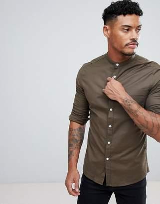 Asos DESIGN casual skinny oxford in khaki with grandad collar