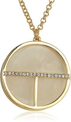 T Tahari Blue/Crystal Disc Pendant Necklace