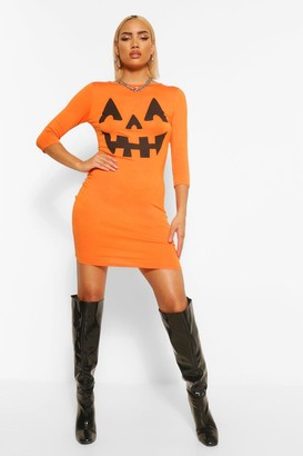 boohoo Hayley Pumpkin Print Halloween Bodycon Dress