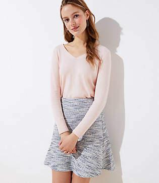 LOFT Tall Shimmer Knit Flippy Skirt