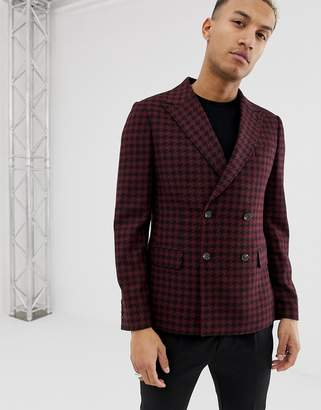 Asos Design DESIGN slim double breasted blazer in burgundy with houndstooth check