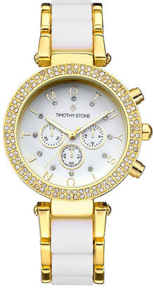 Timothy Stone Women's 'Desire' Crystal Accented Two Tone Bracelet Boyfriend Watch