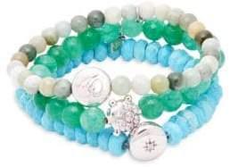 Set of Three Boheme Green Jade, Turquoise, White Topaz & Sterling Silver Beaded Bracelets