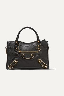 Balenciaga Classic Metallic Edge City Mini Textured-leather Shoulder Bag - Black