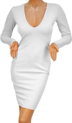 HilldaAline Sexy Hot Women Bandage Bodycon Long Sleeve Evening Party Lady Comfortable Fashion White Deep V Slim Dress S