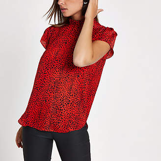 River Island Red leopard print frill high neck top