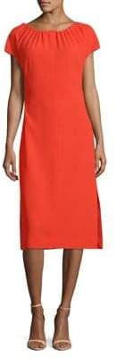 Diane von Furstenberg Short Sleeve Pintucked Satin Dress