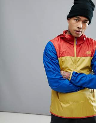 The North Face Fanorak Overhead Jacket Hooded Packable Tricolour In Yellow/Orange/Purple