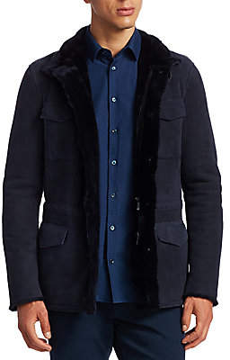 Giorgio Armani Men's Hooded Shearling & Suede Field Jacket