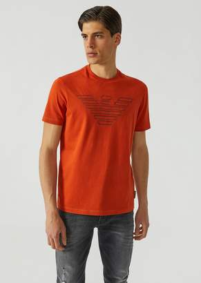 Emporio Armani Jersey T-Shirt With Contrasting Embroidered Logo
