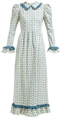 Batsheva Ruffled Floral Print Cotton Dress - Womens - Cream Multi