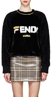 "Fendi Women's Mania"" Mink Fur Sweatshirt - Black"