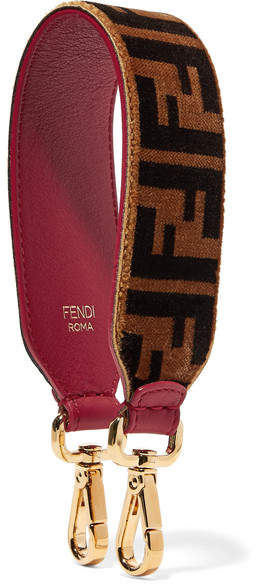 Fendi Printed Velvet And Leather Bag Strap - Brown