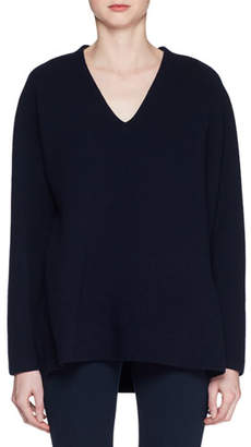 The Row Bambi V-Neck Long-Sleeve Wool-Blend Top