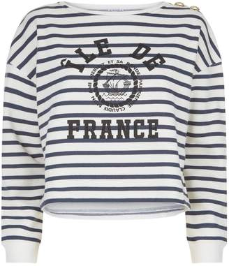 Claudie Pierlot Button Shoulder Striped Sweater