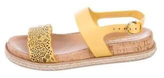 Salvatore Ferragamo Leather Laser Cut Sandals