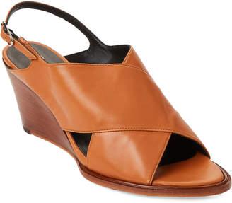 Robert Clergerie Glenn Crisscross Leather Wedge Sandals
