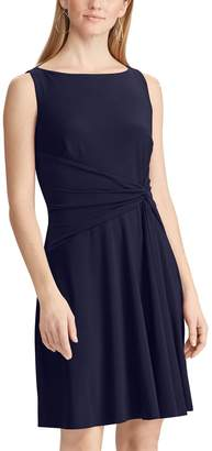 Chaps Petite Knot-Front Pleated Fit & Flare Dress