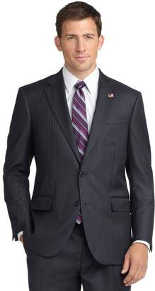 Brooks Brothers Madison Fit Saxxon Wool Blue Grey Stripe 1818 Suit