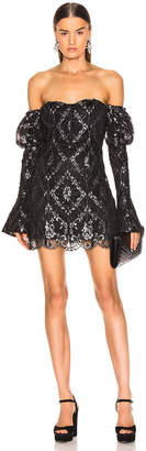 Jonathan Simkhai for FWRD Off the Shoulder Metallic Lace Dress in Black   FWRD