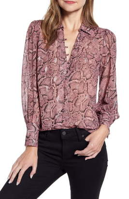 1 STATE 1.STATE Snakeskin Print Button Front Blouse