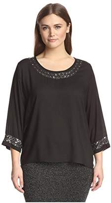 Society New York Plus Women's Embellished High-Low Top