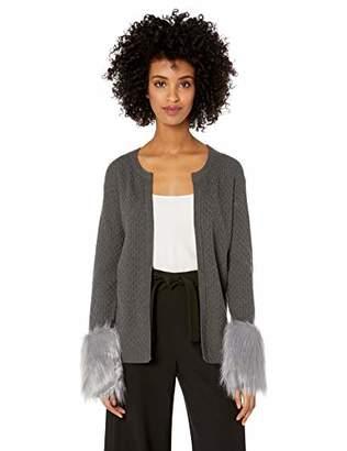 Chaus Women's Long Sleeve Faux Fur Cuff Cardigan