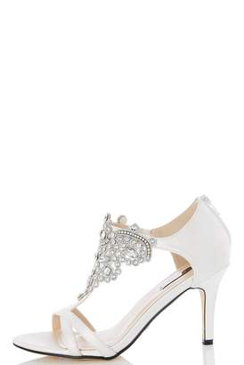 Quiz White Satin Jewel Front Bridal Sandals