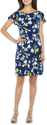 LONDON STYLE Short Sleeve Pattern Fit & Flare Dress