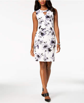 Kasper Floral-Print Scuba Crepe Sheath Dress, Regular & Petite