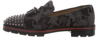 Christian Louboutin Camouflage Spike-Embellished Smoking Slippers