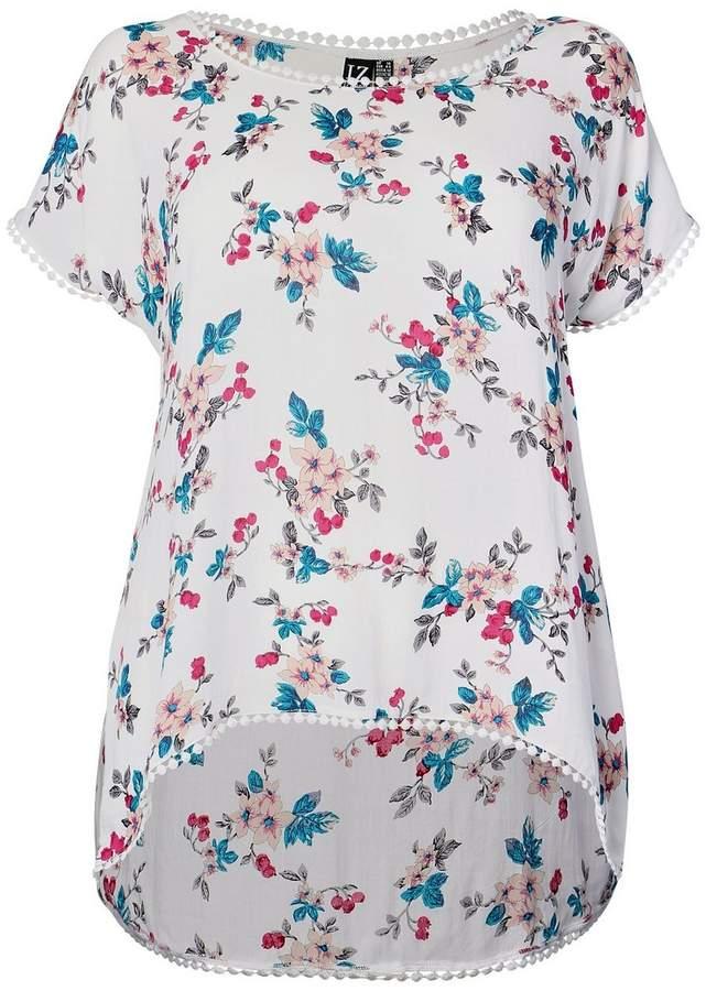 *Izabel London Curve White Floral Print T-Shirt